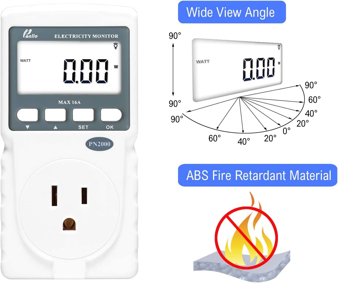 Poniie PN2000 Plug-in Kilowatt Electricity Usage Monitor Electrical Power Consumption Watt Meter Tester w/ Extension Cord - -