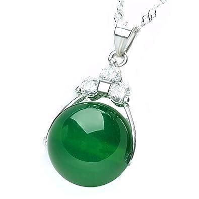 Women Silver Green Ball Bead Jade Gemstone Pendant Necklace ctidrPu8Z
