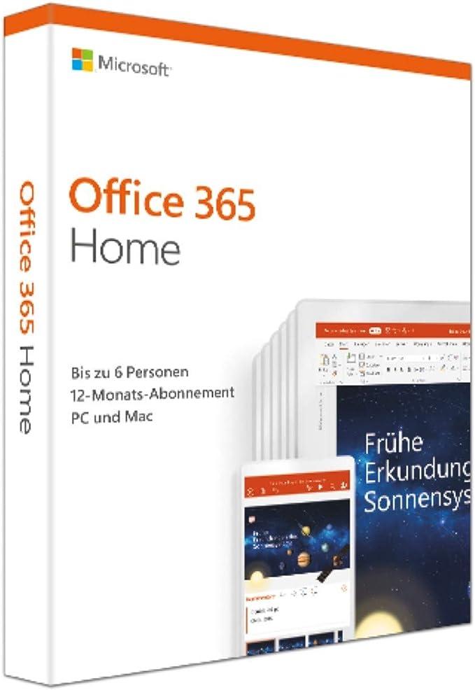 Microsoft Office 365 Home Multilingual 6 Nutzer Mehrere Pcs Macs Tablets Und Mobile Geräte 1 Jahresabonnement Box