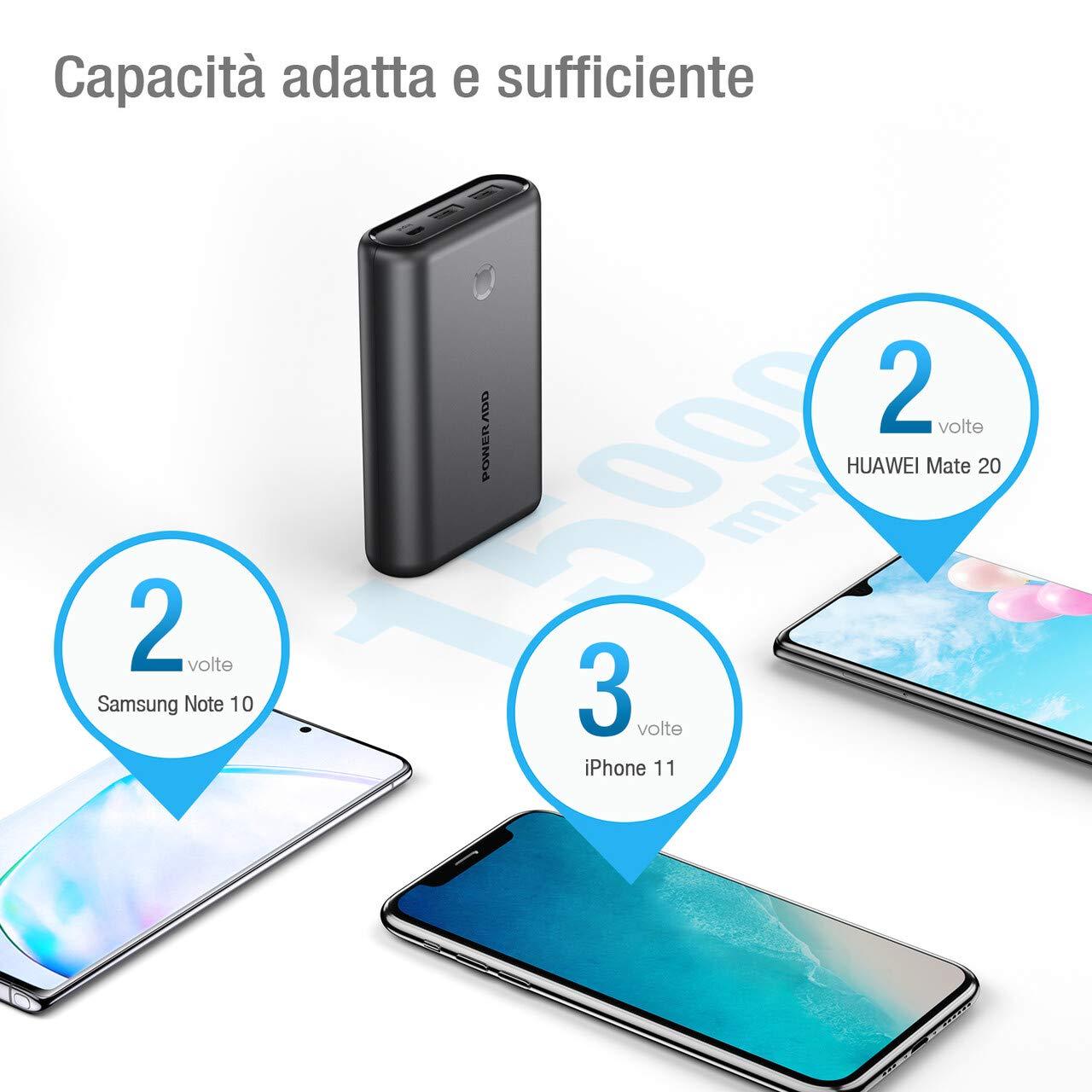 POWERADD Powerbank 15000mAh Caricabatterie Portatile 2 Output Carica Rapida per Huwei, Samsung, iPhone, Xiaomi e Tanti Altri