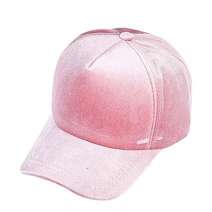 75ac8d4bbb1 Amazon.com  🍄LIULIULIU🍄Women Girl Simple Solid Color Outdoor Sport  Baseball Gold Velvet Cap (Pink)  Garden   Outdoor