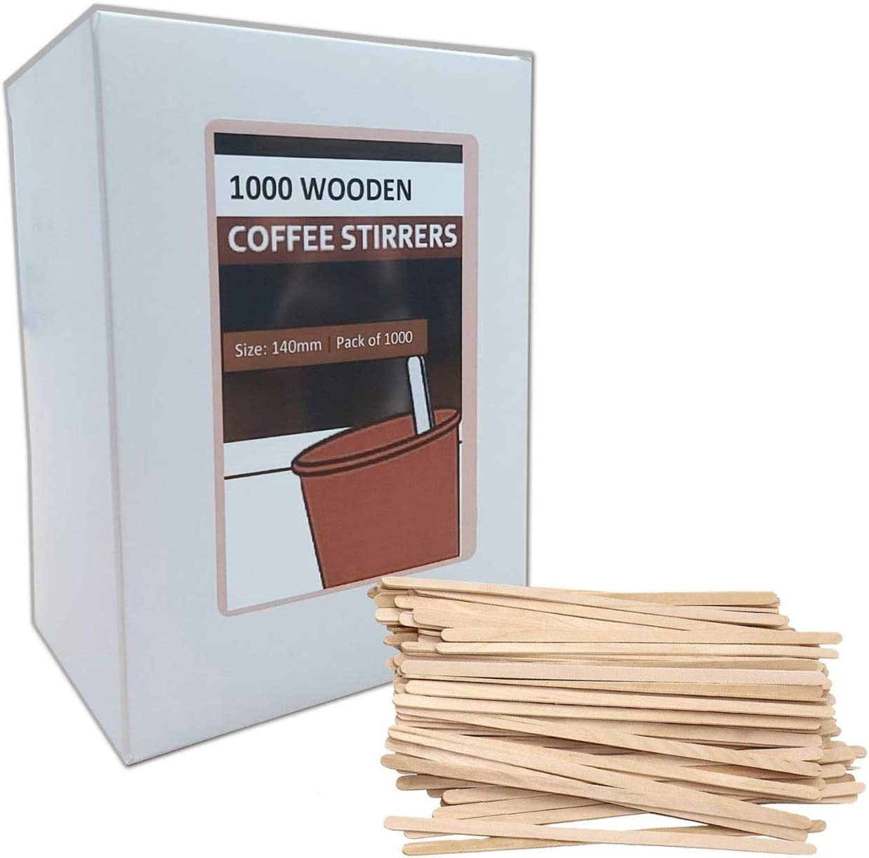 140mm 1000 x Disposable Wooden Coffee Stirrers Eco Friendly