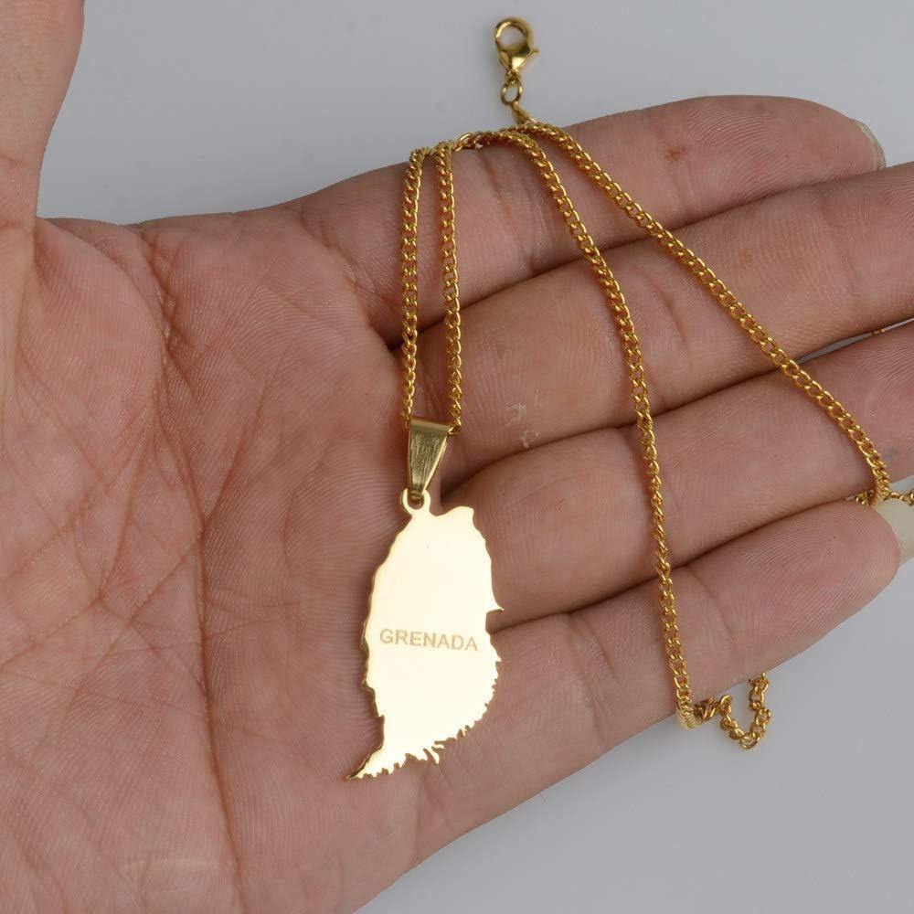 ASDWA Collier Carte,Carte De L/Île De Grenade Vintage Couleur Or Pendentif Classique Charme Collier Amulette Bijoux Cadeau Patriotique pour Hommes Femmes Cadeaux Cadeau De F/ête des P/ères