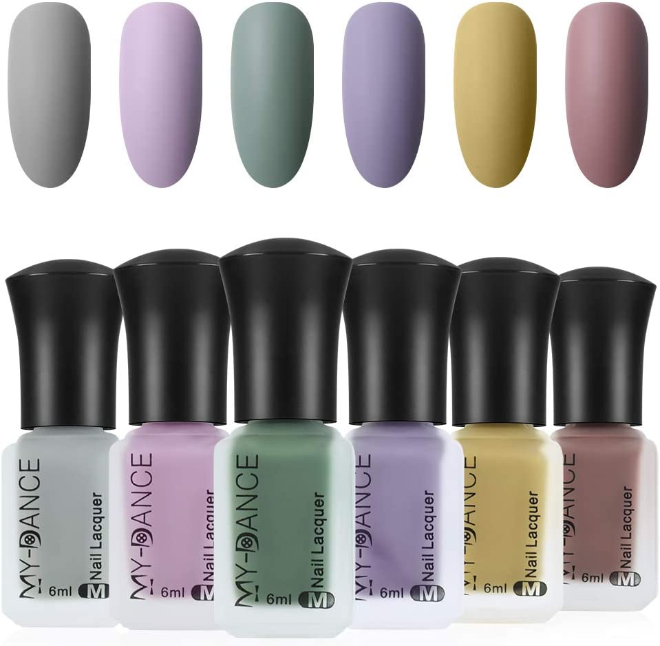 Ownest 6 Colors Matte Nail Polish Set, Mist Effect Matte Velvet Nail Polish, Long Lasting Velvet Nail Polish Nail Art-#A : Beauty