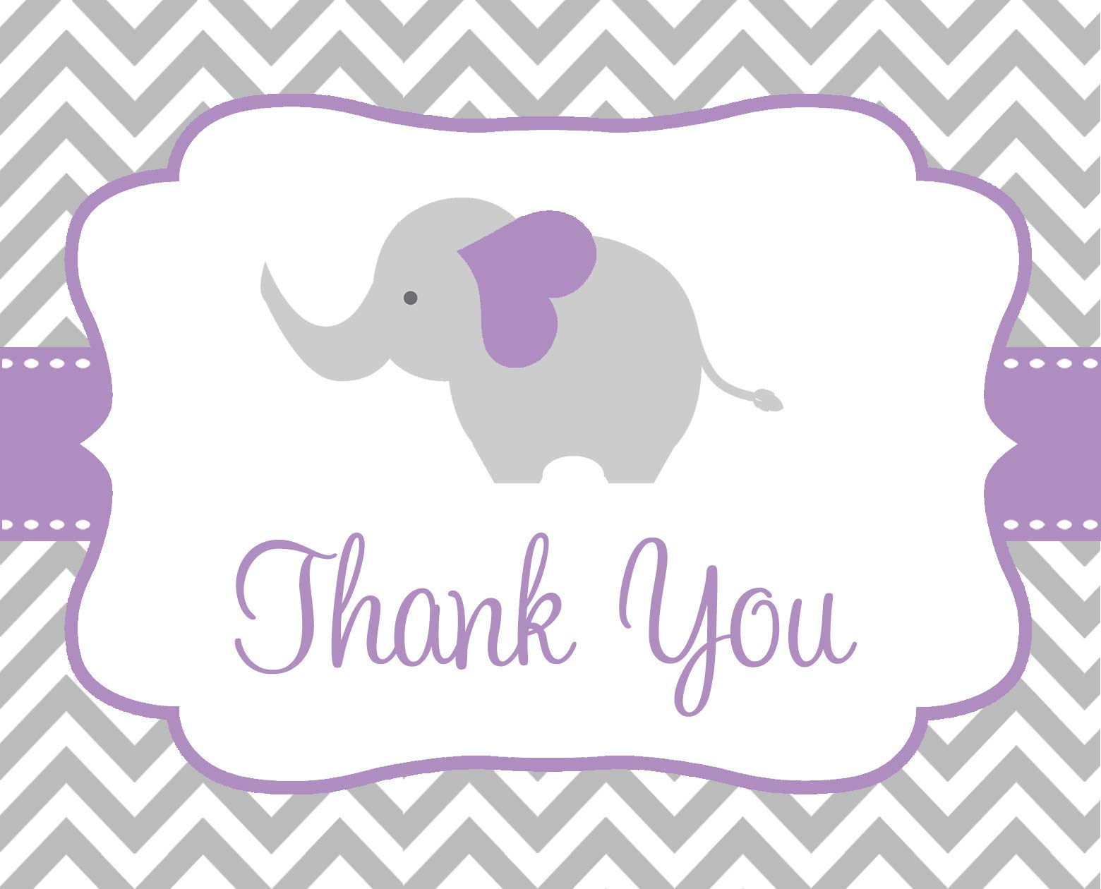Elephant Thank You Cards, Chevron, Stripes, Baby Shower, Sprinkle, Little Peanut, It's a Girl, Purple, Gray, Grey, Grey, 50 Printed Folding Notes with White Envelopes, Chevron Elephant (Purple)