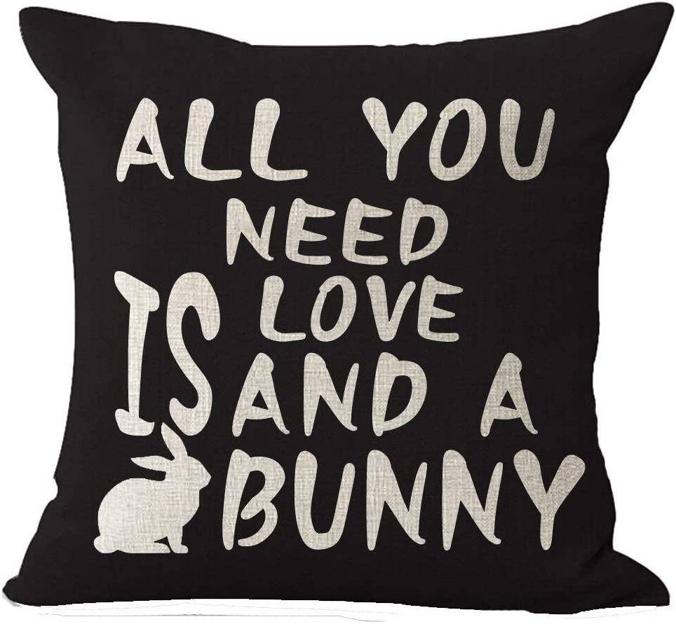 Happy Easter All You Need is Love and A Bunny Home Decor Cotton Linen Rabbit Throw Pillow Covers Cushion Cover 18 x 18 Inch