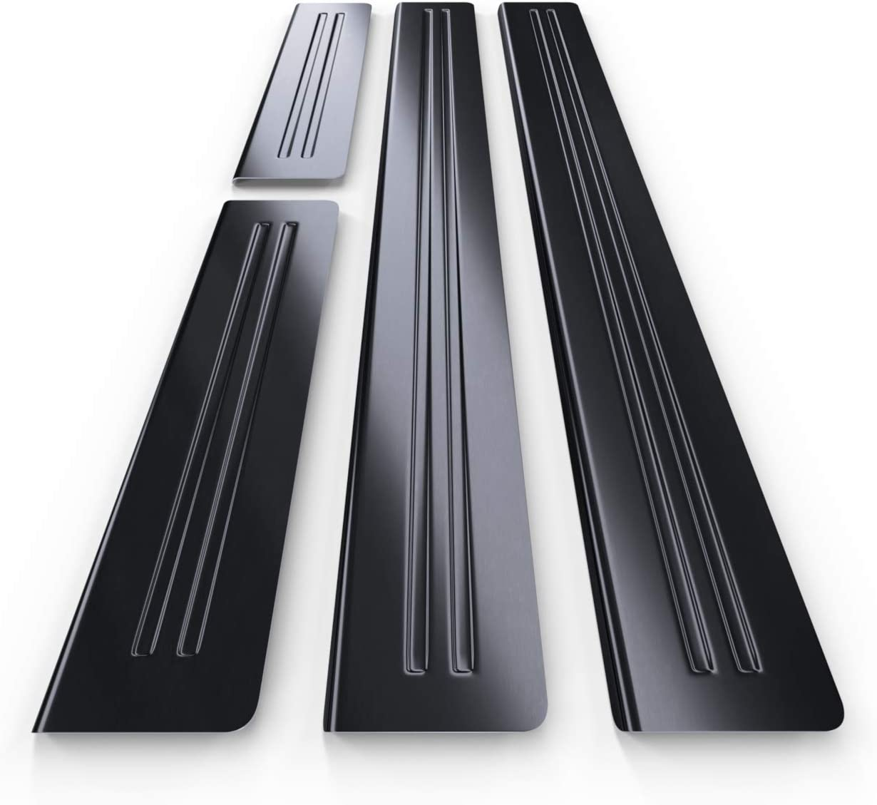 schwarz 4-teilig Auto Einstiegsleisten Set Edelstahl 5902538681339