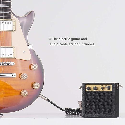 Muslady Mini Amplificador de Guitarra Altavoz 5W Madera con Entrada de 6.35mm Salida de Auriculares de 3,5 mm Soporta Ajuste de Tono de Volumen Overdrive: ...
