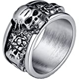 EVBEA® Mens Rings Vintage Black Flower Skull Band Rings Antique Fashion Gothic Jewelry Ring Size