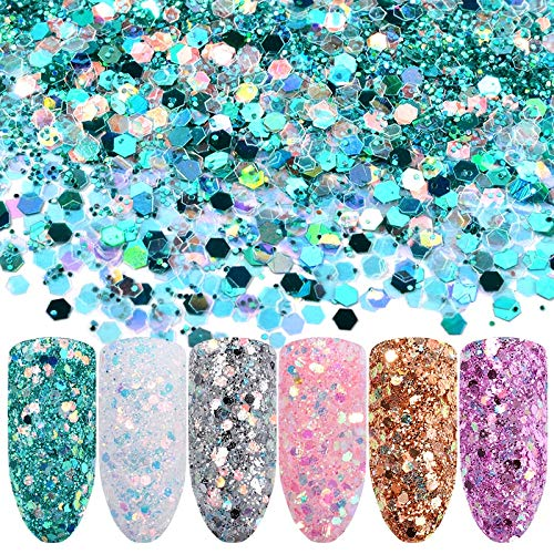Set Glitter - 6 Colors Mixed Size Nail Glitter Sequins Powder Laser Shining 3D Nail Art Paillette Flakes DIY Manicure Tips Decorations Kits ()