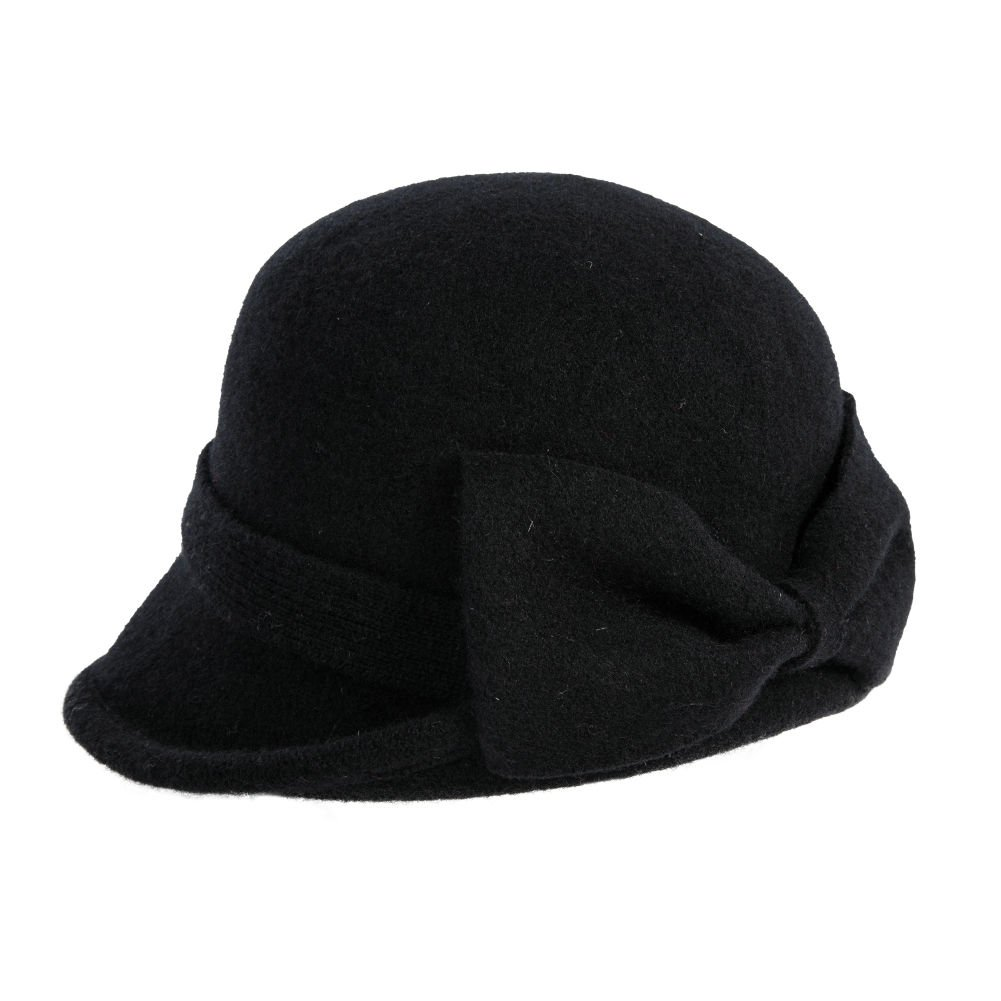 fa76452e1e2 Siggi Womens Black Vintage Wool Felt Cloche Bucket Hat Winter Bowler Cap  Packable at Amazon Women s Clothing store