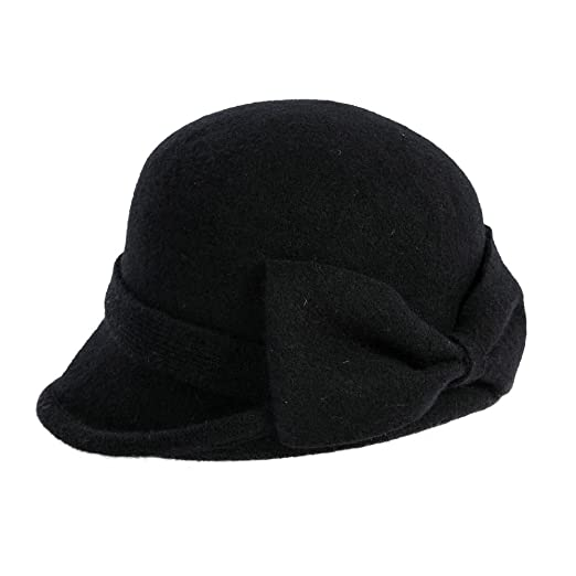 Siggi Womens Black Vintage Wool Felt Cloche Bucket Hat Winter Bowler Cap  Packable 67fd3e4a35b