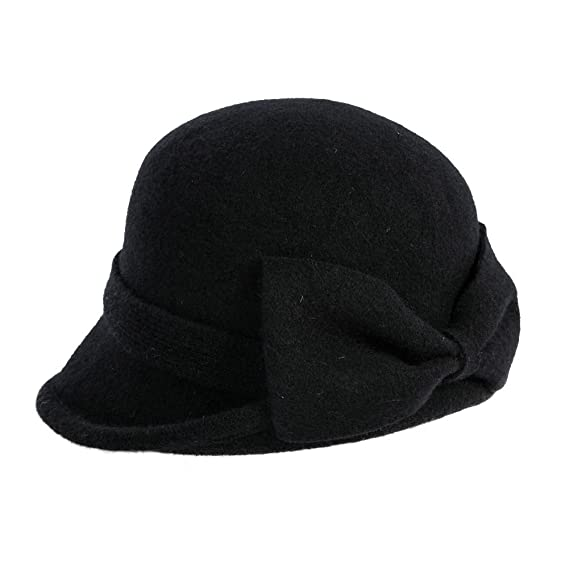 1fa894c6e1e90e Siggi Womens Black Vintage Wool Felt Cloche Bucket Hat Winter Bowler Cap  Packable at Amazon Women's Clothing store: