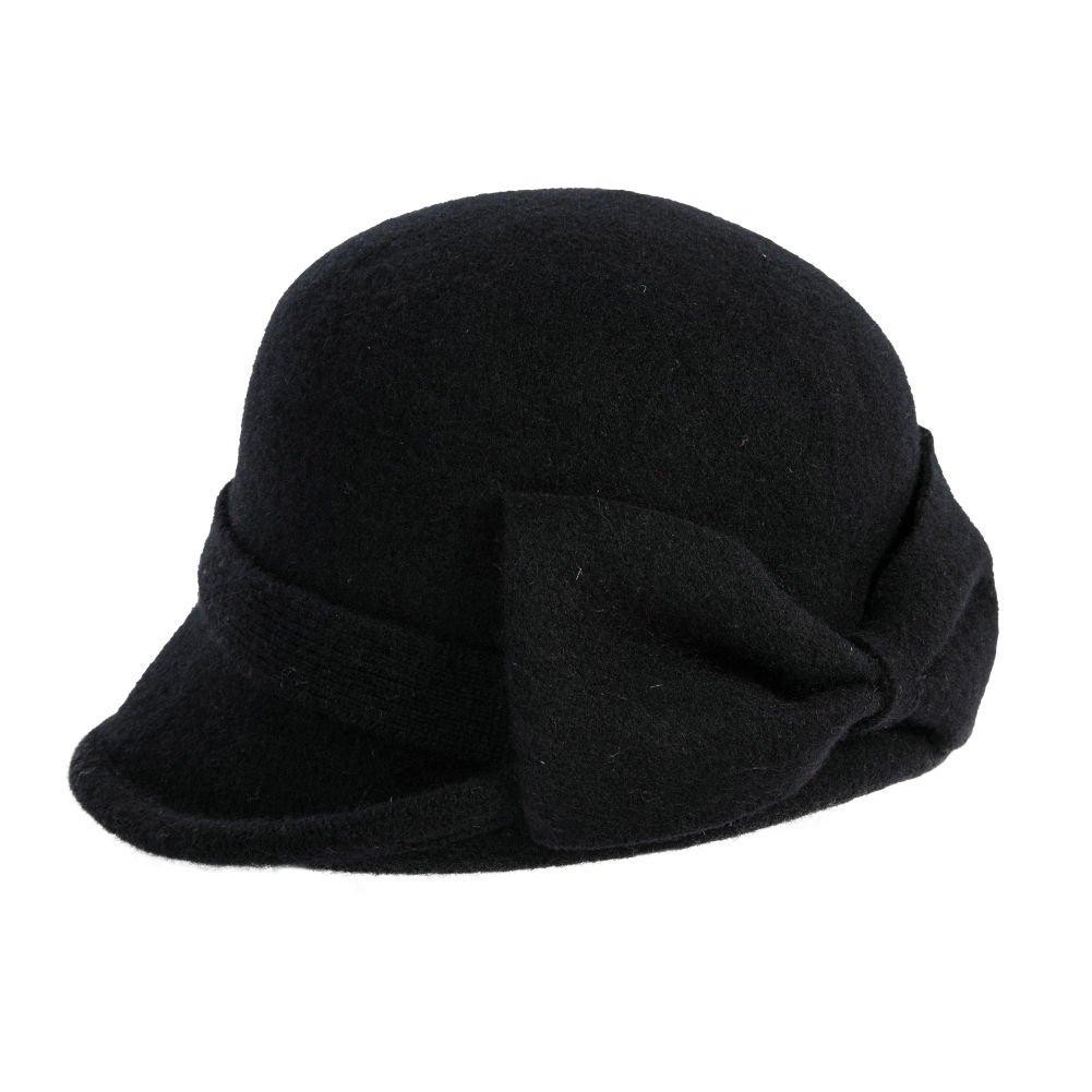 Siggi Womens Black Vintage Wool Felt Cloche Bucket Hat Winter Bowler Cap Packable
