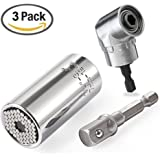 Yuekute Universal Gator Socket Adapter Grip Set(Power Drill Adapter Included) With 1/4inch 6mm 105°Right Angle Extension Drill Screwdriver