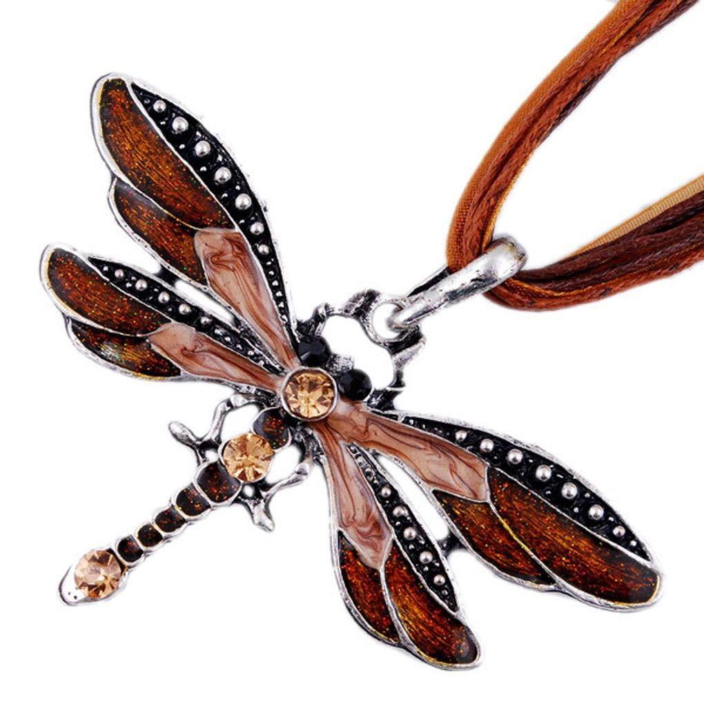 Lorjoyx Retro Dragonfly Design Pendant Necklace Rhinestone Necklace Women Jewelry