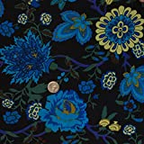 Fresh Floral Poly Spandex FDY Knit Black Turq Fabric