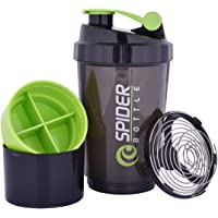 V A International Cyclone Protein Shaker Bottle for Gym with 2 Detachable Compartments Unisex, 500 ml (Green)