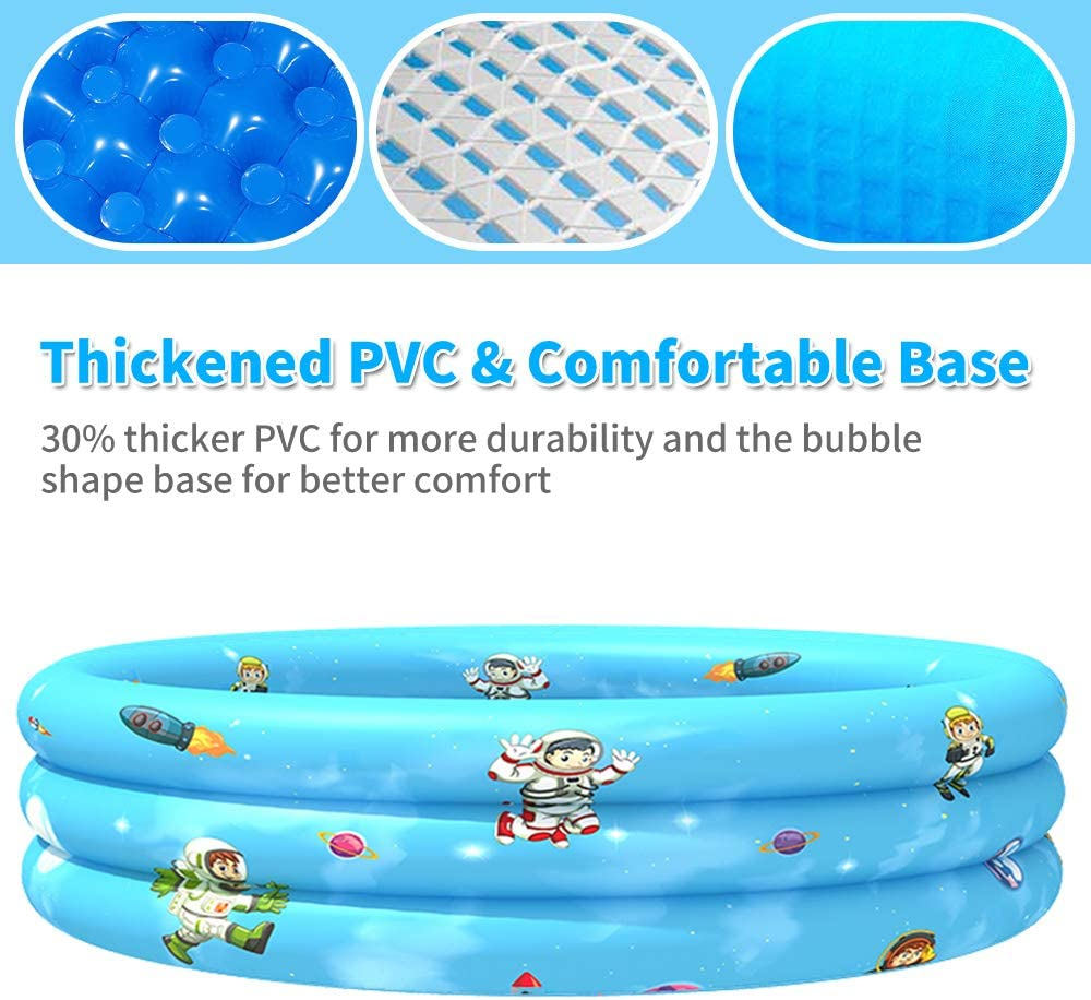Blow Up 3 Ring Summer Fun Donut Plastic Inflatable Baby Swimming Pools 44 X 12 VARANO Round Kiddie Pool Inflatable Pool for Kids Baby /& Toddler