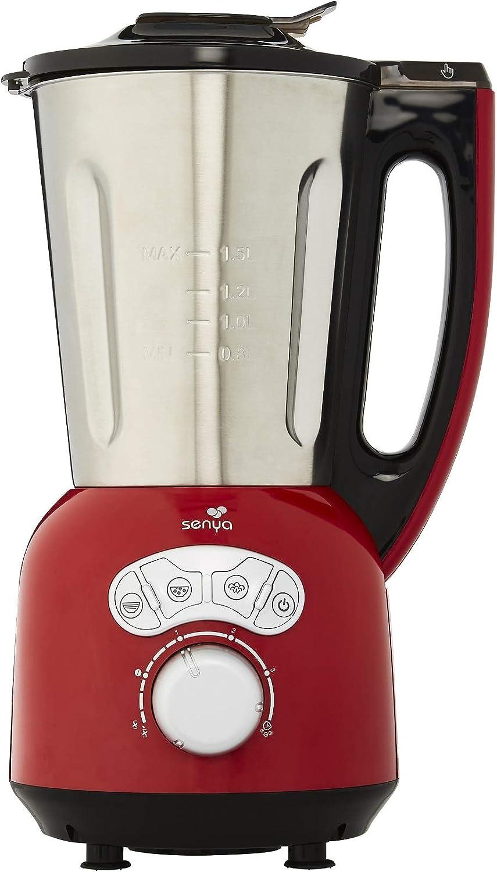 1.5 liters Cuisson Vapeur 1 Senya Blender Cr/ème Chauffant INOX Cook /& Ice V3 5L,1400W Glace Pil/ée Smoothies Mixeur Soupe Velout/ée//Moulin/ée
