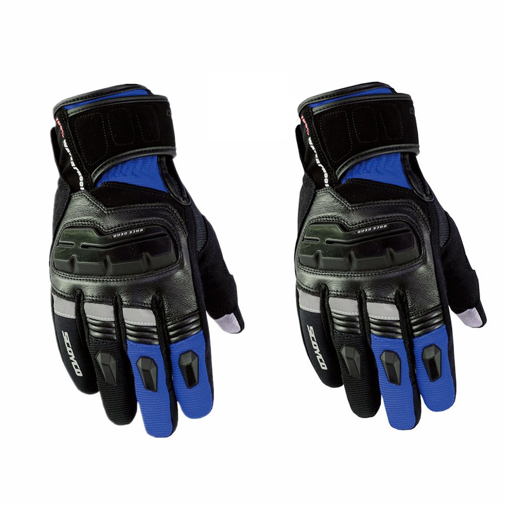 Sdcvopl Protective Gloves Protective Motorcycle Gloves Cycling Mountain Bike Men Gloves for Motorbike Cycling Racing Ventilation (Color : Blue, Size : M)