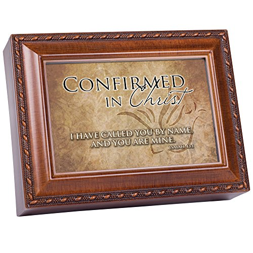 Cottage Garden Confirmed in Christ Woodgrain Rope Trim Music Box Plays How Great Thou Art