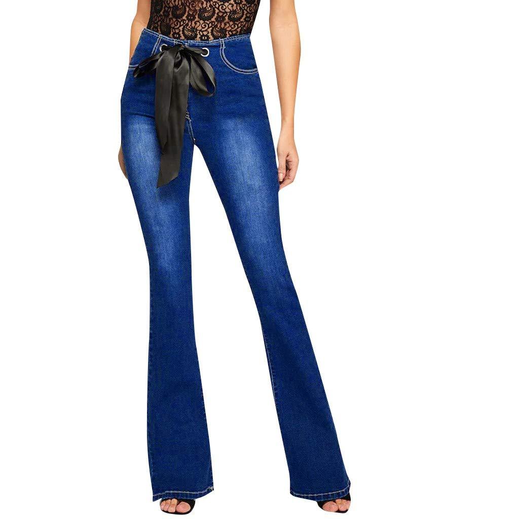 FarJing Pants for Women ! Women Elasticated High Waist Paperbag Denim Pant Witn Belt(M,Blue
