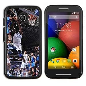 Qstar Arte & diseño plástico duro Fundas Cover Cubre Hard Case Cover para Motorola Moto E (Dallas 33 Baloncesto)