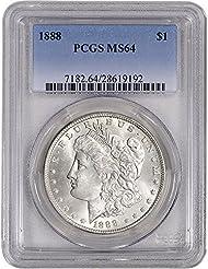 1888 US Morgan Silver Dollar $1 MS64 PCGS