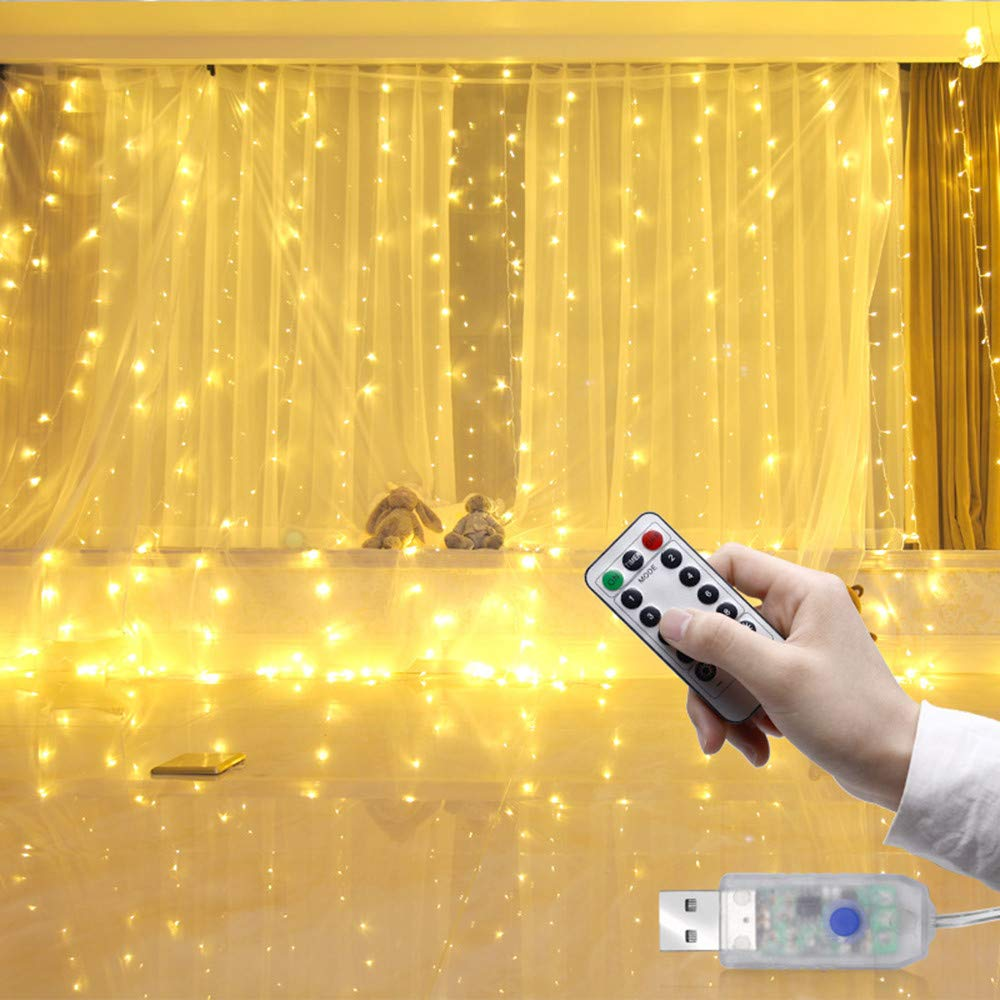H+K+L 3m 300 LED USB Curtain Lights with Remote Control, 8 Glint Modes+Timing Function Lights (Yellow)