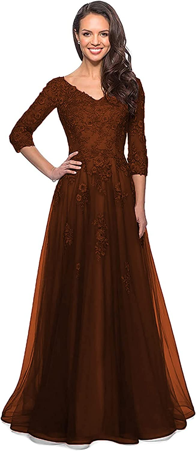 Topics on TV Women's Mother of The Bride Dresses Long Appl Lace Sleeve V-Neck SALENEW very popular!