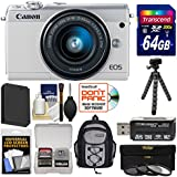 Canon EOS M100 Wi-Fi Digital ILC Camera & EF-M 15-45mm IS STM Lens (White) with 64GB Card + Backpack + Battery + Tripod + 3 Filters + Kit