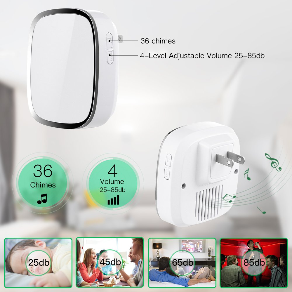 Wireless Doorbell WADAVA Waterproof Bell Plug-in Door Chime Kit with 1000ft 280m Range 36 Tunes 1 Push Button & 2 Receivers Without Battery Required 4 Level Volume LED Flash Hardware Included (white) by WADAVA (Image #2)