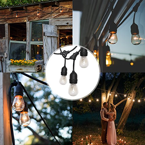 SUPERDANNY UL Approval Outdoor String Lights 52ft Commercial Grade Weatherproof Edison Vintage 30 Bulbs (6 for Spare) with 30pcs Cable Ties as Bonus, for Patio Gazebo Porch Garden Backyard Wedding by SUPERDANNY (Image #6)