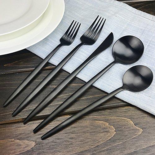 Cubertería Set negro mate acero inoxidable cubiertos conjunto, AOOSY 5 piezas estilo portugués Premium calidad vajilla de lujo/vajilla/tenedor cuchillo ...