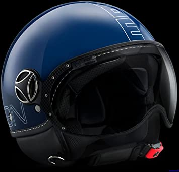 MOMO fgtr Glam Open Face casco de moto en azul cobalto brillante con logotipo blanco Outline