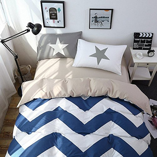 Alicemall 100% Cotton 4 Pieces Bedding Set Classic Blue and White Chevron Print Fitted Sheets Set Simple Home Bedding, Full Size (1 Duvet Cover, 1 Fitted Sheet and 2 Pillowcases)(Blue Chevron)