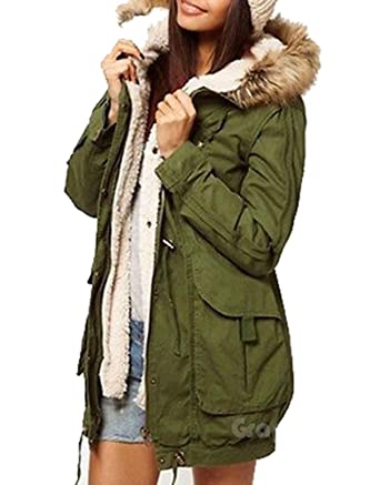 Army Olive Green Womens Thicken Fleece Jacket Winter Warm Coat ...