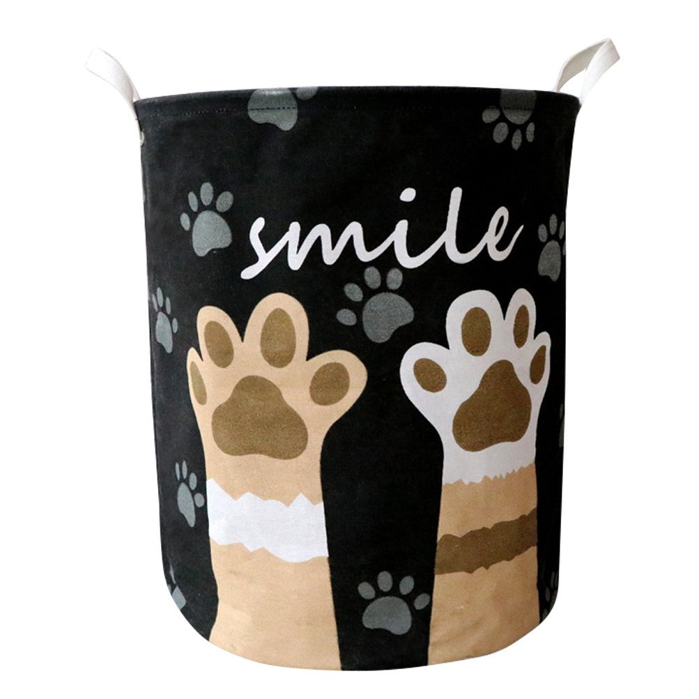 Fieans Large Laundry Basket Folding Washing Storage Bin Dirty Clothes Hamper with Handles Cute Animals Decorative Basket - Black