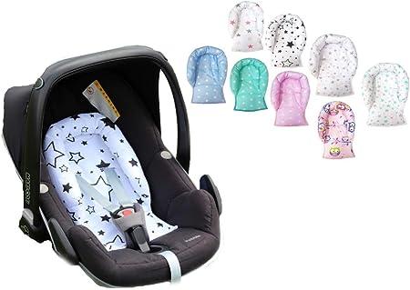 Sweet Baby ** SOFTY DESIGN ** Reductor para silla de bebé Maxi Cosi/Römer etc. / Protector de cuerpo para coche (0-6 meses) (Stars Green)