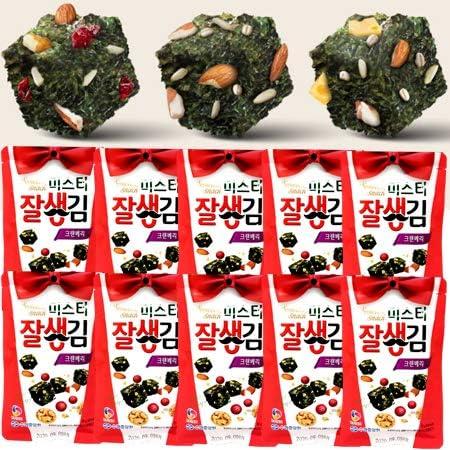 クランベリー海苔お菓子20gx10袋 クランベリー,アーモンド,クルミ + 韓国海苔コラボ 穀物お菓子