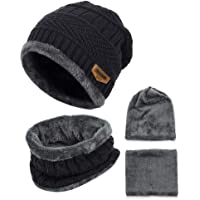 H HOME-MART Knitted Beanie hat, 2 Pieces Winter Beanie Hats Scarf Set Warm Knit Hat Thick Fleece Lined Winter Cap…