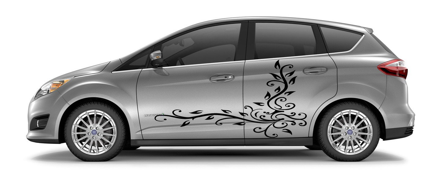 Amazon com car side vinyl sticker graphics abstract design floral pattern a1442 home kitchen
