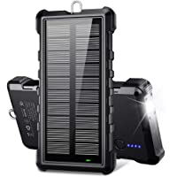 Portable Solar Charger, BEARTWO 24000mAh Solar Power Bank Panel Charger with 2 USB Outputs External Battery Pack High…