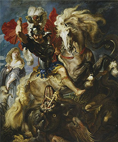 Oil Painting 'Rubens Peter Paul Saint George Battles The Dragon Ca. 1607' 30 x 36 inch / 76 x 92 cm , on High Definition HD canvas prints is for Gifts And Dining Room, Nursery And Powder Room decor (Daisy Beaded Pen)