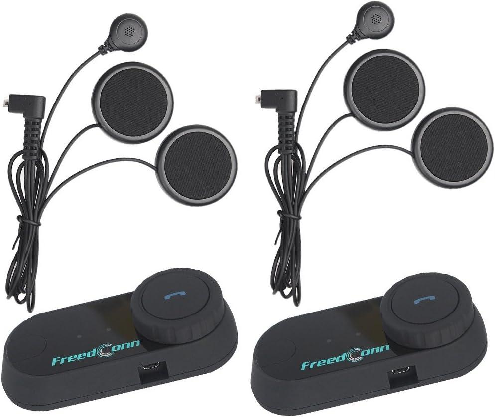 Casco Motocicleta Auriculares FreedConn T-comVB Casco Moto a Prueba de Agua Sistema de comunicación por intercomunicación Auriculares Bluetooth con 800m, GPS, FM, MP3 (2 Pack Soft Microphone)