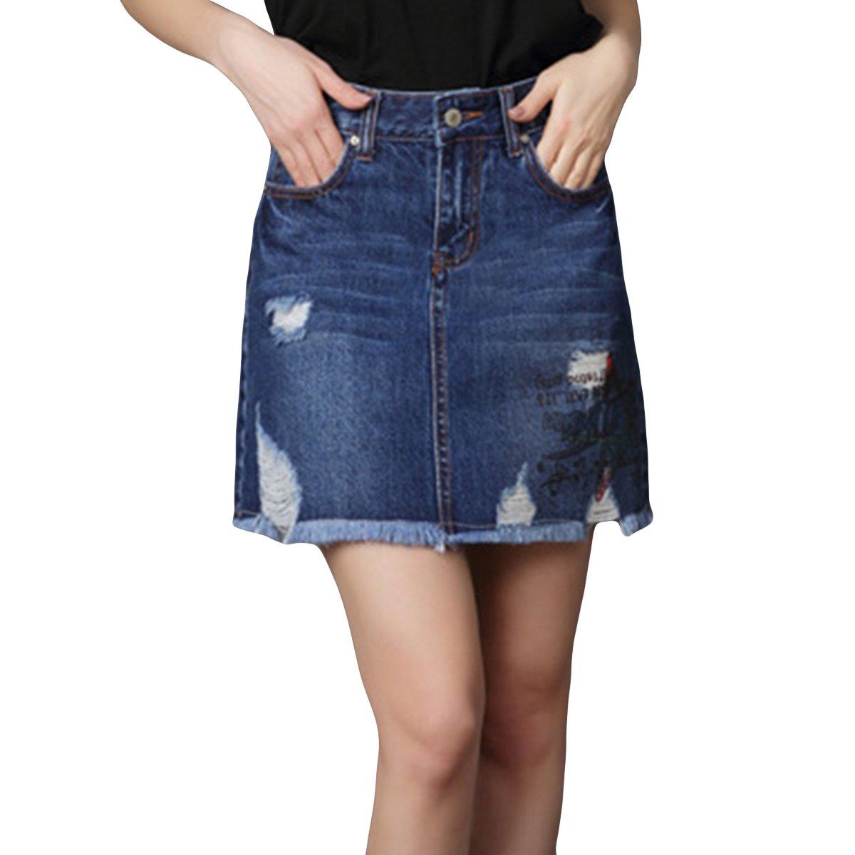 Cekaso Women's Denim High Waist Short Distressed Jean Ripped Printed Casual Skirt, Dark Blue, USsize10-12=TagszieXXL