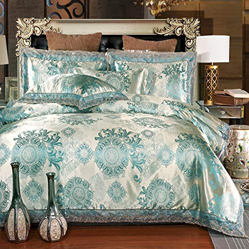 UniTendo 4 Piece Sateen Cotton Jacquard Duvet Cover Sets,Delicate Floral Pattern Bedding Sets,Duvet Cover Flat Sheet and 2 Pillowcases,Queen/Full Size, Golden Lake Blue.