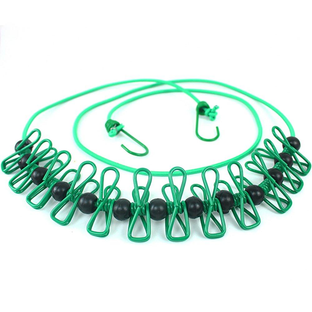 Ouken Travel stendibiancheria retrattile regolabile in linea di abbigliamento antivento lavanderia appeso corda con 12 mollette, 13 anti-skid clip per esterni e interni,Style 1