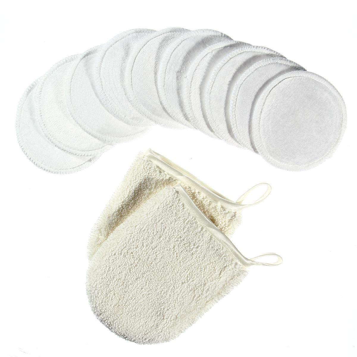 MOGOI 10 Pcs Tampons D/émaquillants Avec Sac De Rangement//lessive Et 2 Gants De Nettoyage Du Visage Rondelles De Coton Microfibre En Bambou R/éutilisables Organiques Pour Laver Le Visage